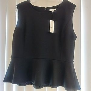 New York & Company black peplum hem top sleeveless